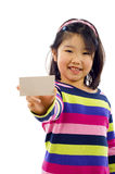 Little Asian Girl with Business Card Stock Photography