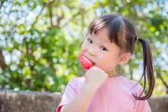 Little girl eating icecream in park Royalty Free Stock Photography