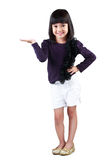 Little asian girl with empty hand. Isolated over white Stock Images