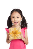 Little asian girl with gift box Royalty Free Stock Photography