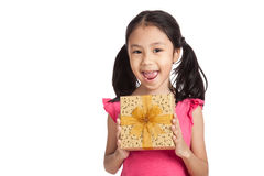 Little asian girl with gift box Stock Photography