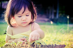 A little asian girl and green sprout Royalty Free Stock Photos