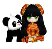 Little Asian Girl And Her Panda Posers Clipart. Great for greeting cards, website, commercial or personal stationary and gifts Royalty Free Stock Photos