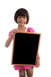 Little asian girl holding black board Stock Photo