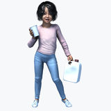 Little Asian girl holding cup and contatiner 1. Little Asian girl holding a cup and container of a healthy beverage Royalty Free Stock Photos