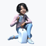 Little Asian girl holding cup and contatiner 4. Little Asian girl holding a cup and container of a healthy beverage Royalty Free Stock Photography