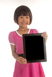 Little Asian girl holding empty backboard Royalty Free Stock Photography