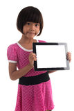 Little asian girl holding white board Royalty Free Stock Photography