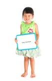 Little asian girl holding whiteboard Stock Photos