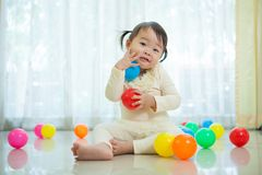 Little asian girl in home Royalty Free Stock Photo