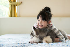 Little asian girl hugging a siberian husky puppy Royalty Free Stock Images