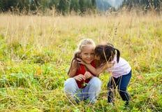 Little Asian girl kissing caucasian girl on meadow  Stock Photo