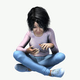 Little Asian girl looking a bug. Little girl sitting crossed leg looking a lady bug Royalty Free Stock Photos