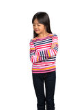 Little asian girl looking down Royalty Free Stock Photos