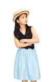 Little asian girl looking up at blank copy space. Isolated on white with clipping path Royalty Free Stock Photography