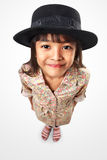 Little asian girl looking up to camera Stock Images