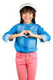 Little asian girl making the heart with her hands Royalty Free Stock Photography