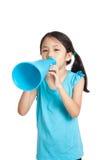 Little asian girl with megaphone Stock Photos