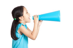 Little asian girl with megaphone Royalty Free Stock Photos