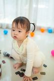 Little asian girl with microphone Royalty Free Stock Images