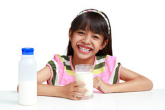Little asian girl with milk Stock Photography