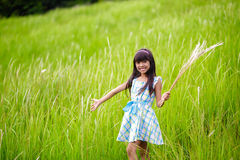 Little asian girl with open arms against green meadow Royalty Free Stock Photos