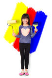 Little asian girl with paint brush and roller Stock Photos