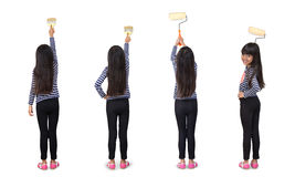 Little asian girl with paint roller Royalty Free Stock Photos