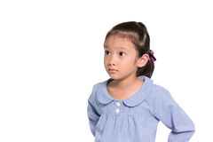Little asian girl posing worry face isolate background Royalty Free Stock Photo