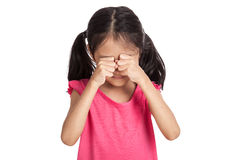 Little asian girl is sad and cry Stock Photo
