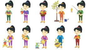 Little asian girl vector illustrations set. Royalty Free Stock Photos