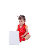 Little asian girl (thai) in traditional chinese cheongsam Royalty Free Stock Photography