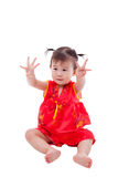 Little asian girl (thai) in traditional chinese cheongsam Stock Images
