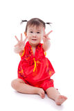 Little asian girl (thai) in traditional chinese cheongsam Stock Photo