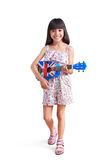 Little asian girl with ukulele Stock Images