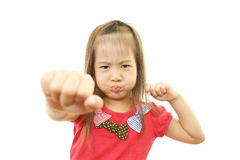 Little Asian girl uneasy look Stock Photos