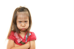 Little Asian girl uneasy look Royalty Free Stock Photography