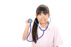 Little asian girl in uniform Royalty Free Stock Image