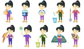 Little asian girl vector illustrations set. Royalty Free Stock Photography