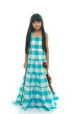 Little asian girl wearing blue dress playing violin Stock Photography