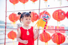 Girl playing to lion puppet Royalty Free Stock Images