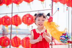 Girl playing to lion puppet Royalty Free Stock Image