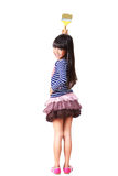 Little Asian Girl With Paint Roller Stock Images