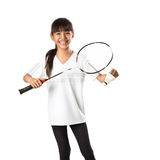 Little asian girls with badminton Stock Photos