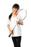Little asian girls with badminton Stock Images