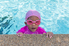 Little asian girls enjoy swimming Royalty Free Stock Photography