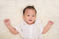 Little asian infant baby boy smiling with happy face Stock Images