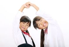 Little asian schoolgirls Royalty Free Stock Images