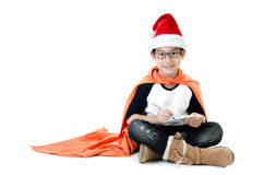 Little asian smile boy with santa hat Royalty Free Stock Photography