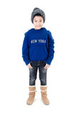 Little  asian smile  boy wearing winter clothes Royalty Free Stock Photo